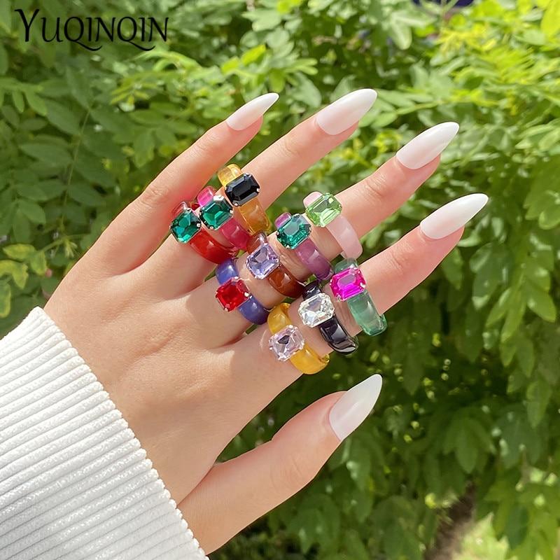 Fashion Acrylic Colorful Rectangle Rhinestone Rings for Women Big Transparent Finger Ring Girls Vintage Female Beautiful Jewelry