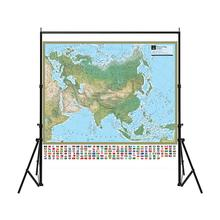The Physical Map of Asia 150x150cm Non-woven with National Flag For Culture And Education