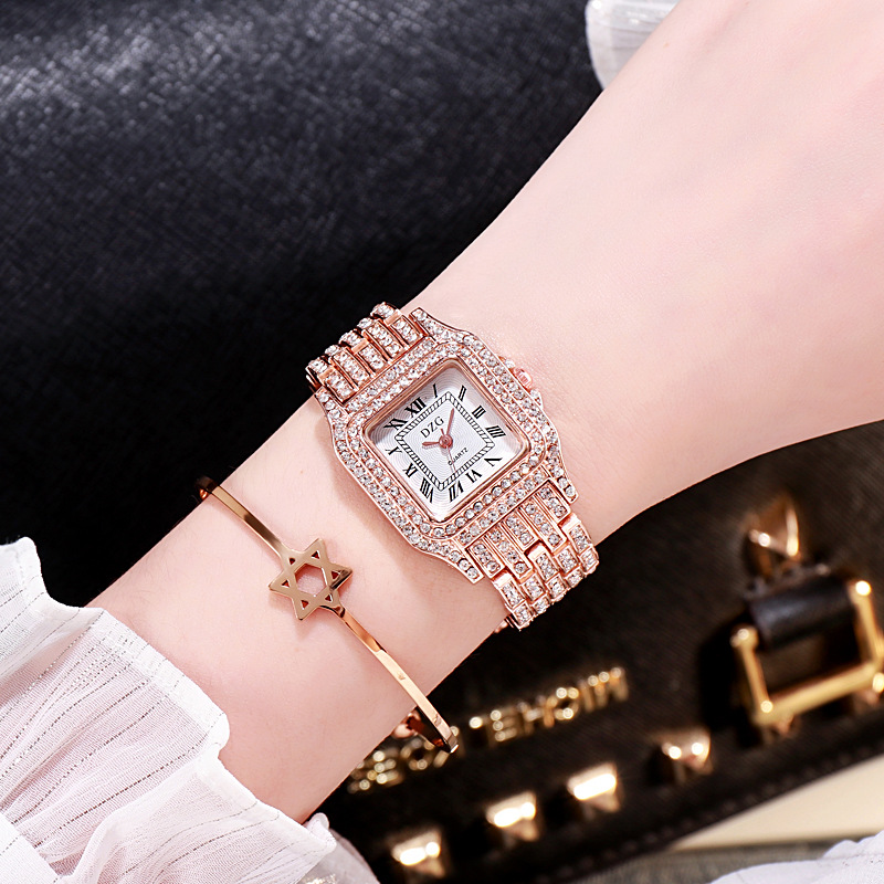 2020 new square wristwatch water diamond women's watch fashion student watch high grade alloy quatz watch 4