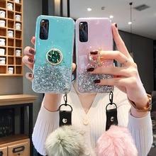 for Samsung J2 J5 J7 Prime Case Glitter Silicon M31 M31S M21 M30S J4 J6 Plus Note 10 8 20 Ultra S10 Plus Holder Fur Ball Cover