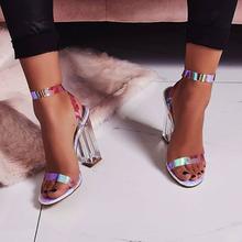 Nowe damskie buty wysokie obcasy damskie czółenka przezroczyste obcasy damskie buty damskie sandały na obcasie damskie sandały sandały damskie szpilki tanie tanio gEYILAN GLADIATORKI Kwadratowy obcas CN (pochodzenie) Szpilki bez palców 0-3 cm Super Wysokiej (8cm-up) Dobrze pasuje do rozmiaru wybierz swój normalny rozmiar