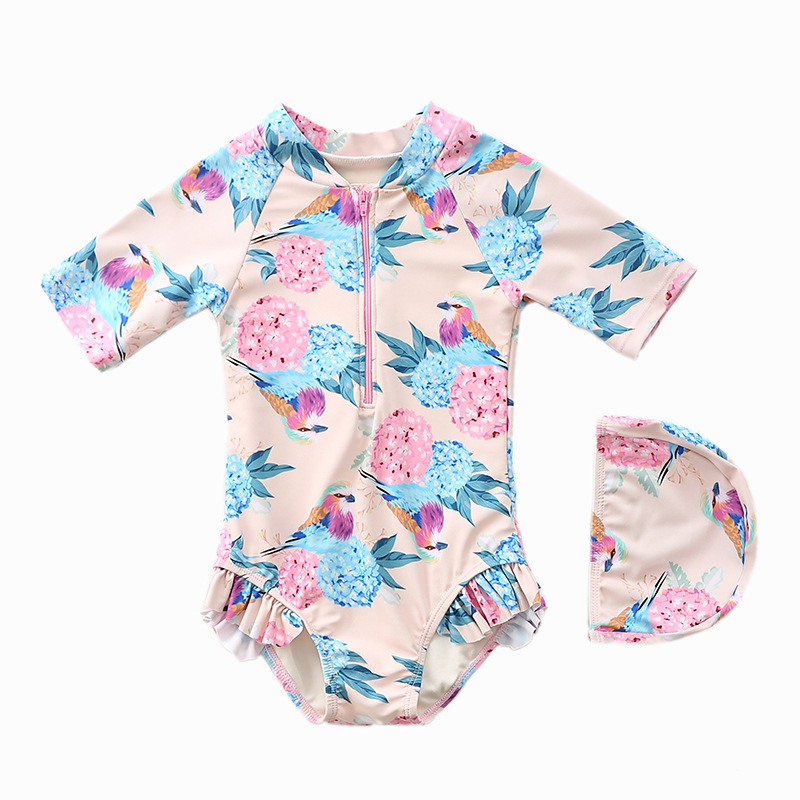 INS KID'S Swimwear Women's One-piece Sun-resistant In Long Sleeve Cute Baby Infant Little Princess Swimwear Girls Swimwear