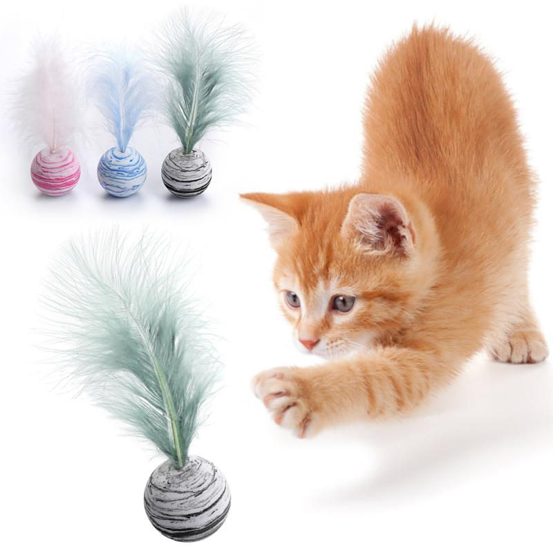 1//5//10x Soft Fleece False Mouse Cat Toys Colorful Feather Funny Playing Toy PT