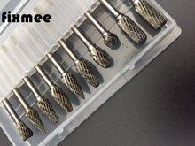 10 pçs de aço tungstênio cabeça moagem rebarbas de carboneto de tungstênio conjuntos mini broca diamante burs material tungstenio dremel acessórios