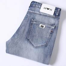 Men Light Blue Jeans Good Quality Slim Elastic Italy Eagle Brand Fashion Business Trousers Classic Style Straight Denim Pants 38