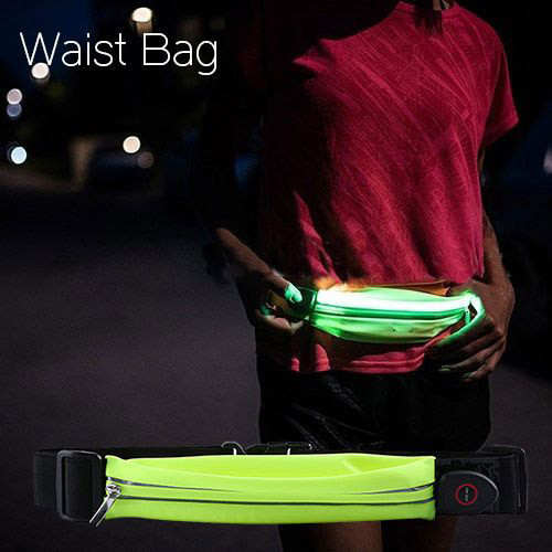 Safety Glow Night Running Reflective Waist Bag Waterproof Sport Belt Pouch Fanny Pack Running LED Light Bag