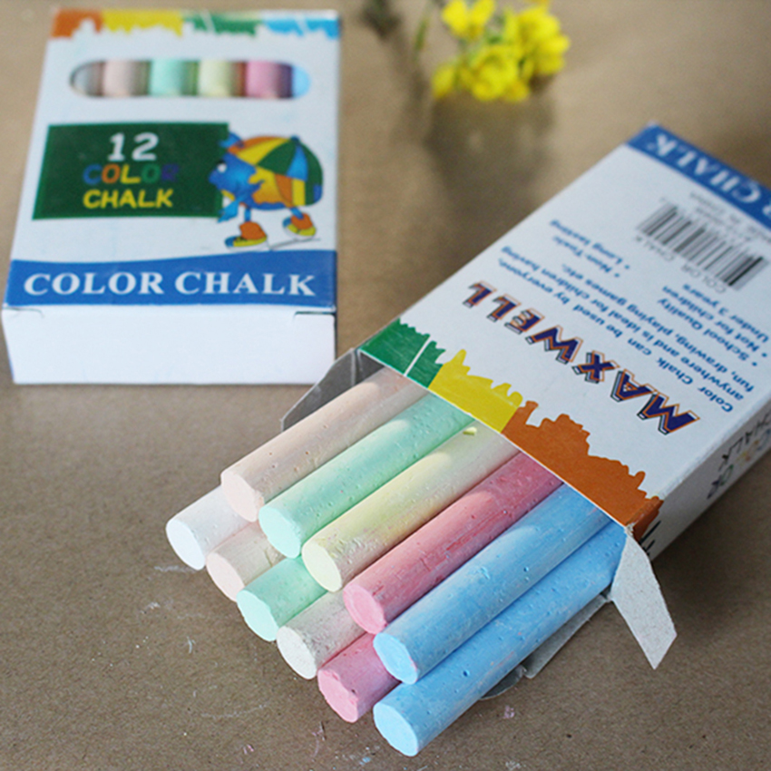 12PCS/Set Nontoxic Chalk 6-Color Washable Art Play For Kid And Adult, Paint On School Classroom Chalkboard, Kitchen, Blackboard