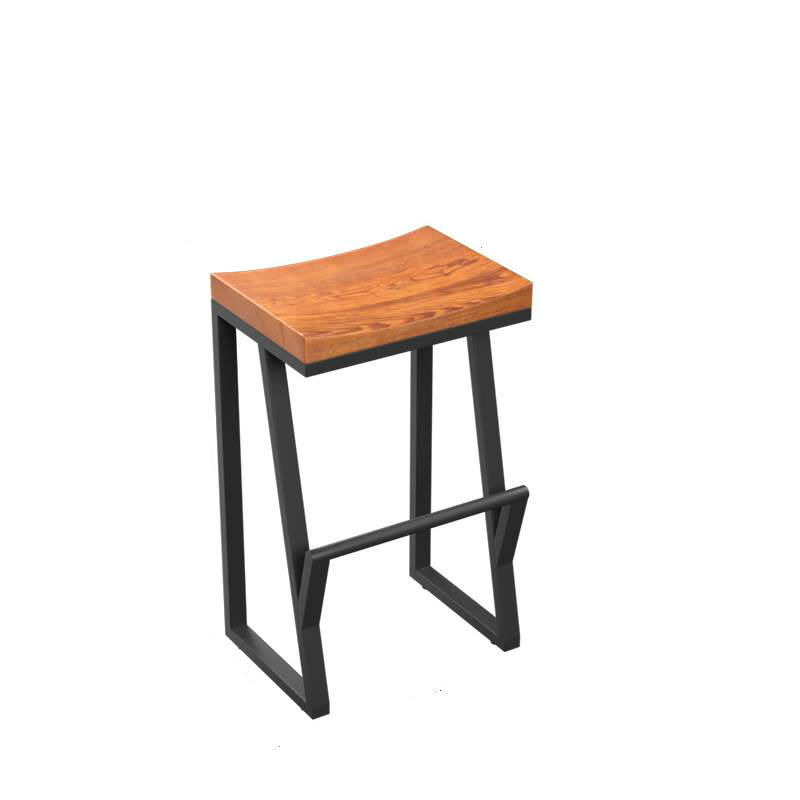 H1 Retro Bar Chair Wrought Iron Bar Stool Solid Wood Bar Stool Creative High Stool Leisure Bar Chair Front Coffee Chair  Cheap