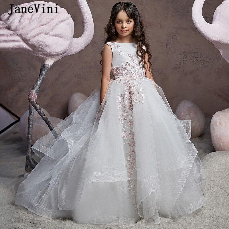 JaneVini Elegant White Ball Gown Long   Flower     Girls     Dresses   Lace Appliques Sleeveless Puffy Tulle Sweep Train   Girl   Dinner   Dress