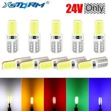 10 pces 24v t10 w5w 194 168 cob led bulbo automóvel automóvel transformar sinal lâmpada da placa de licença luz carro-estilo acessórios do carro