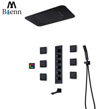 M Boenn Music Shower Systems Set Rainfall ShowerHeads Touch Control Bathroom Faucets Brass Thermostatic Mixer Shower Panel Black
