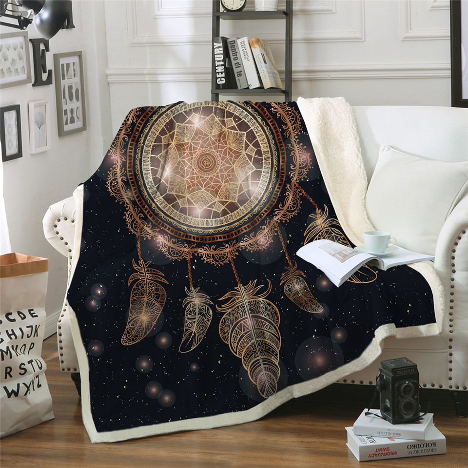 Watching Blanket Anime Dreamcatcher Print Double Velvet Home Sofa Sherpa Blanket For Beds Warm Fleece Camping Blanket Quilt Blankets Aliexpress