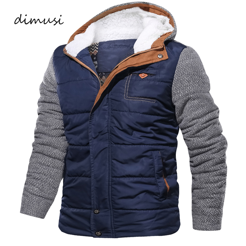 DIMUSI Winter Men's Parkas Casual Cotton Men Thick Warm Hooded Coats Male Slim Fit Outwear Windbreaker Thermal Jackets Clothing