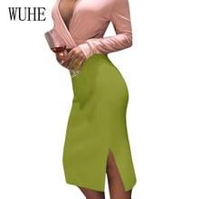 WUHE ребристая осенне-зимняя облегающая юбка женская растягивающаяся юбка с разрезом Облегающие юбки-карандаш для женщин женская сумка бедра трикотажные юбки
