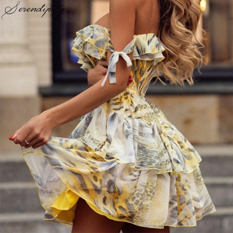 SRDP Ruffle Chiffon Print Princess Dress Women Mini Autumn Off Shoulder Casual Sweet Dresses Short Backless Sleeveless Sundress