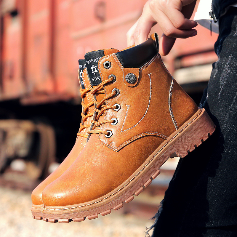Leather boots 2019 new men's casual Martin boots trend men's men's boots men's shoes fashion military boots