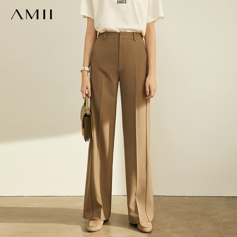 Amii Fashion Casual Pants Women 2019 Autumn New Webbing Stitching Loose High Waist High Leggings Pants 11960740