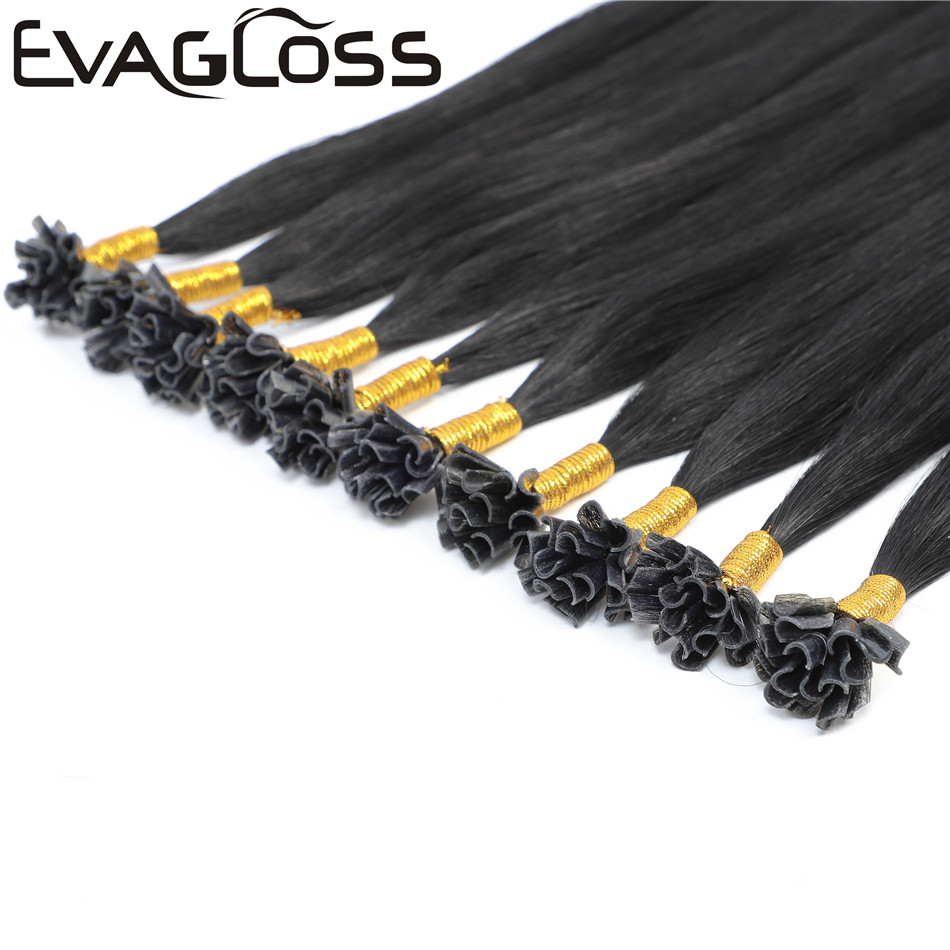 EVAGLOSS 1g/strand Straight Remy Human Fusion Keratin Hair Nail U Tip Pre Bonded Capsules Double Drawn Hair Extensions