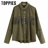 2019 Autumn Tassels Denim Jacket Loose Army Green Button Coat Woman Jeans Jacket Irregular Hem Streetwear