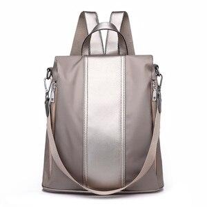 Image 1 - Multifuncional mochila feminina oxford à prova dsmall água bagpack feminino pequeno backpak adolescente meninas bookbag mochila antirrobo sac a dos