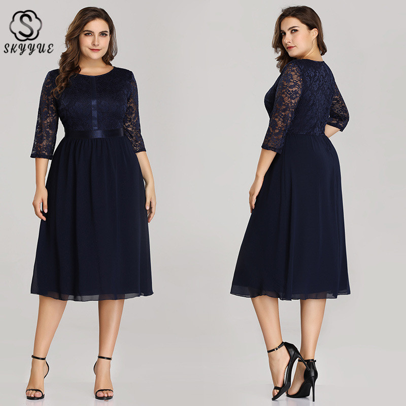 Skyyue Three Quarter Sleeve   Evening     Dress   Women Party   Dresses   2019 Plus Size Lace O-neck Robe De Soiree Formal   Evening   Gown C541