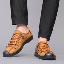 Повседневная кожаная мужская обувь на плоской подошве; Мужская