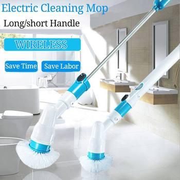 توربو فرك فرشاة التنظيف الكهربائية شحن قابل للتعديل الأنظف اللاسلكي المنزلية نظيفة الحمام أدوات تنظيف المطبخ مجموعة