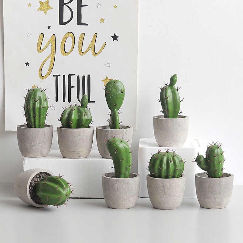 Cactus in Glass PotGreen 17 cm Plastic