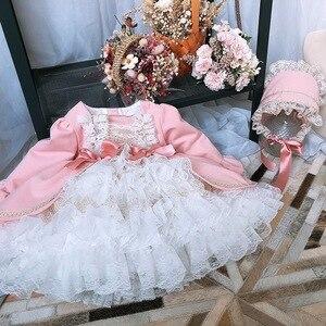 Image 2 - 2 pièces fille hiver laine rose à manches longues Vintage espagnol Lolita princesse robe de bal robe avec pantalon fille anniversaire de noël décontracté
