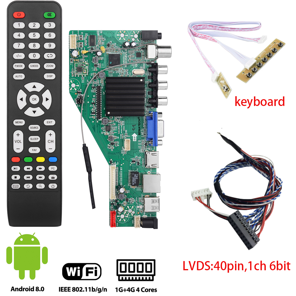 MSD358V5.0 Smart TV Driver Board For Android 1G+4G Wireless Network WI-FI LCD Motherboard Lvds RJ45/HDMI/VGA/AV/TV/USB+40pinlvds