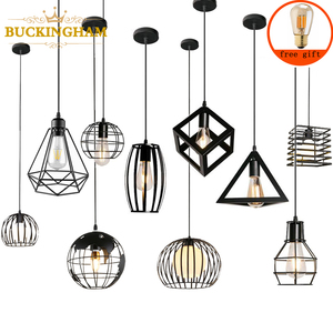 Modern Nordic Pendant Lights Black Iron Retro Loft Cage Pyramid Pendant Lamp American Industrial Metal Hanging Lamps