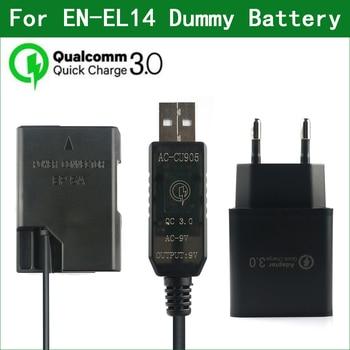 QC3.0 EN-EL14 EL14A EP-5A Dummy Battery Power Bank USB Cable for Nikon D3100 D3200 D3300 D3400 D3500 D5100 D5200 D5300 D5500 1