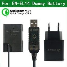 QC3.0 EN EL14 EL14A EP 5A Manequim Bateria Banco de Potência Cabo USB para Nikon D3100 D3200 D3300 D3400 D3500 D5100 D5200 D5300 D5500