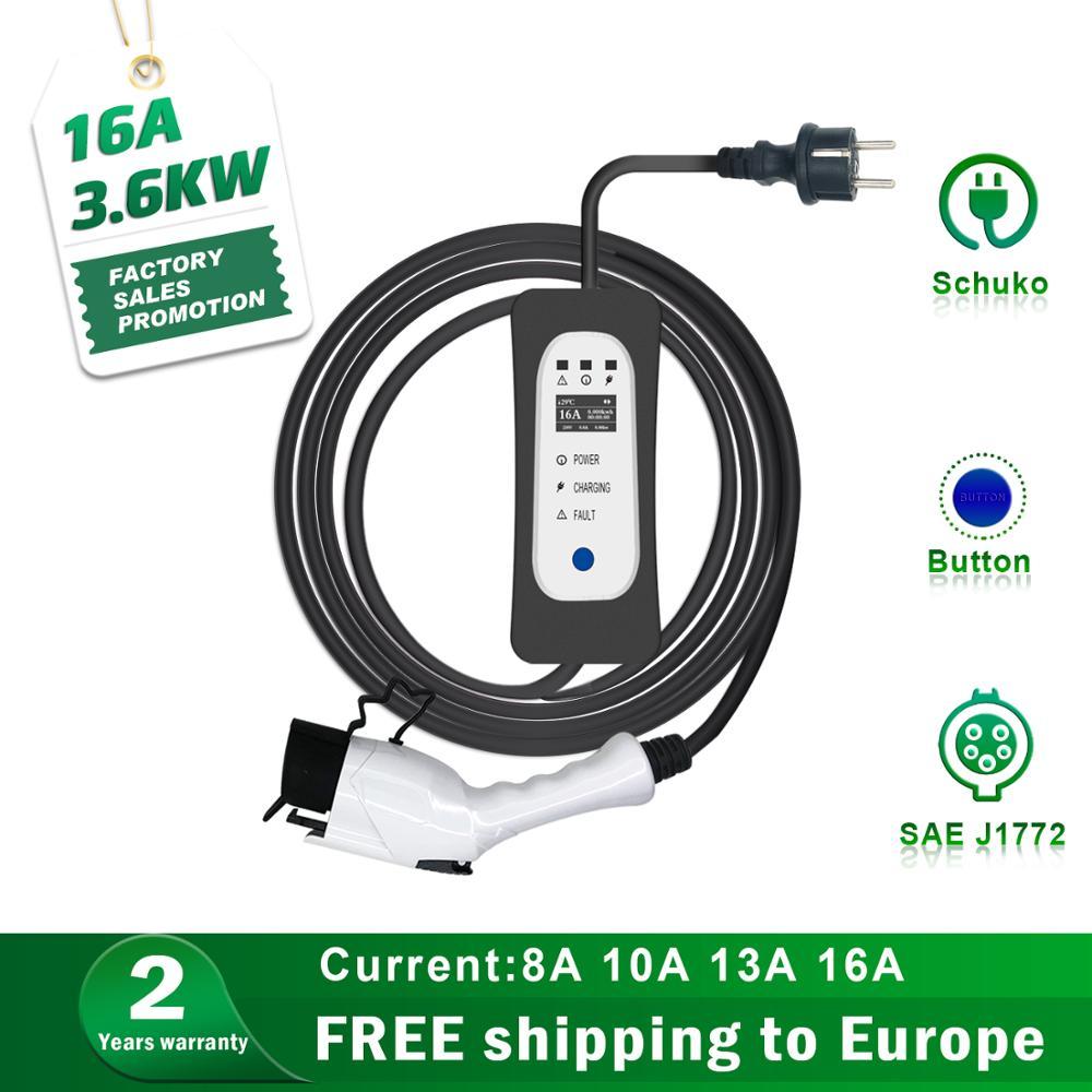 Chargeur de niveau 2 EV SAE J1772 16A EVSE 7M Type 1 bornes de recharge de véhicule électrique à commande réglable Portable pour feuille Tesla