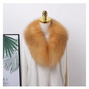 Image 5 - Ms.MinShu bufanda de cuello de piel de zorro genuino para mujer, bufanda de piel de zorro 100%, piel de zorro Natural, calentador de cuello, hecho a medida