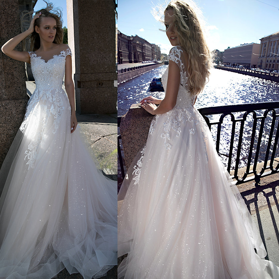A-line Blush Sequin Bling Bling Blush Tulle Wedding Dress Beach Crystals Bridal Dress Vestido Madrinha