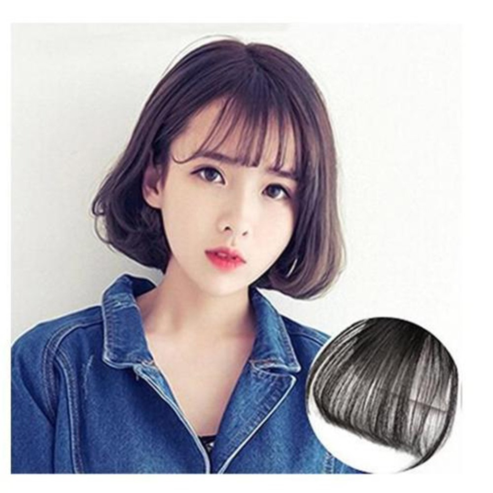 New-Fashion-Natural-Black-Brown-Neat-Front-Clip-In-Hair-Bangs-Extensions-Clip-On-Synthetic-Hair