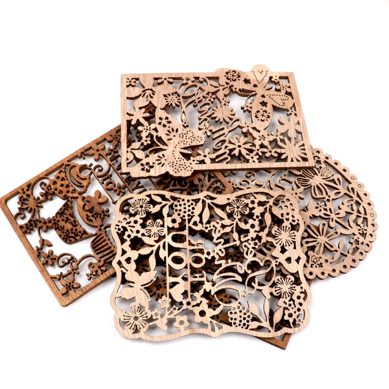 Chinese Style Retro Frame Lace Pattern Wooden Scrapbooking Sewing Home Decoration Craft Handmade Accessory 4pcs 10-13cm MZ410