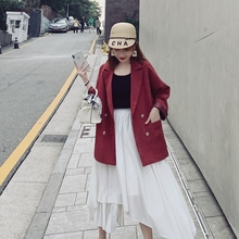 Retro Red Casual Ladies Blazer Stylish Long Sleeve Loose Suit Jacket Blazzer Mujer Korean Spring Autumn Women Blazer New MM60NXZ