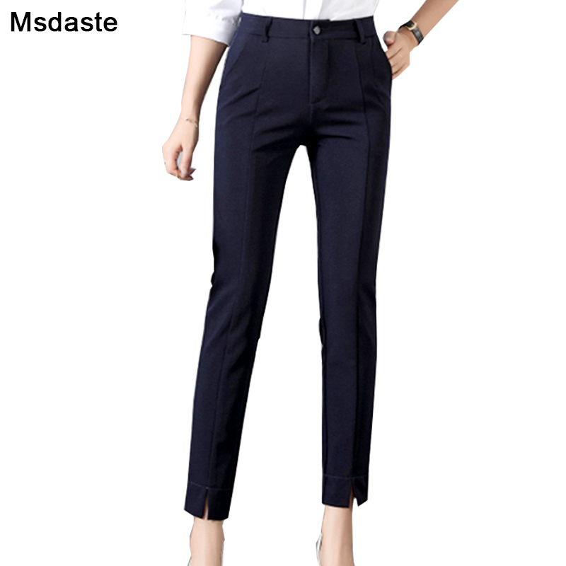 Women Pencil Pants 2019 Autumn High Waist Stretchy Ankle-length Workwear Female Office Trousers Solid Casual Slim Woman Pants