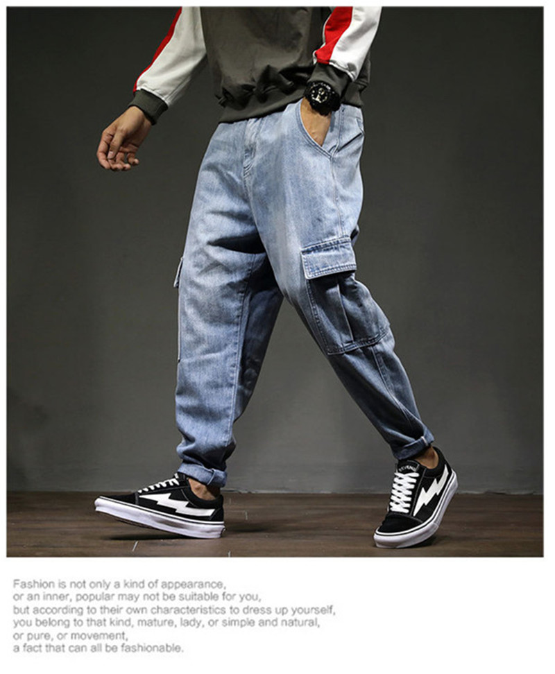 Men`s Casual Cargo Pants 2018 New Fashion Autumn Male Denim Jeans Pants Hip Hop Loose Embroidery Multi-pockets Trousers 28-42 (2)