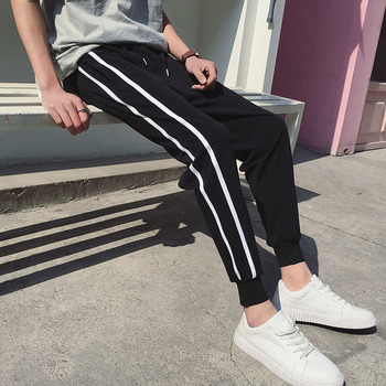 Men jogger pants 2020 new arrival spring and summer Korean style thin trendy male ankle-length black teenager boy n43