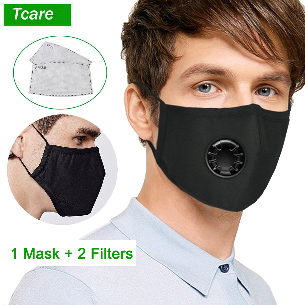 Tcare PM2.5 Breath Valve Mouth Mask Dust Proof Washable Reusable Masks Cotton Unisex Mouth Muffle Anti-pollution For Man Women