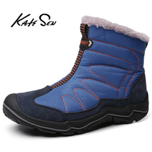 KATESEN Super Warm Men Boots Winter Quality Suede Leather Fur Plush Snow Shoes For Outdoor