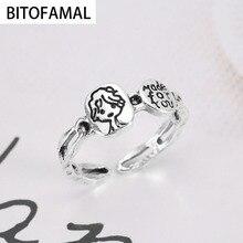1 Pcs Korean Style Fashion Cute Avatar Letter Alloy Female Simple Chain Open Rings