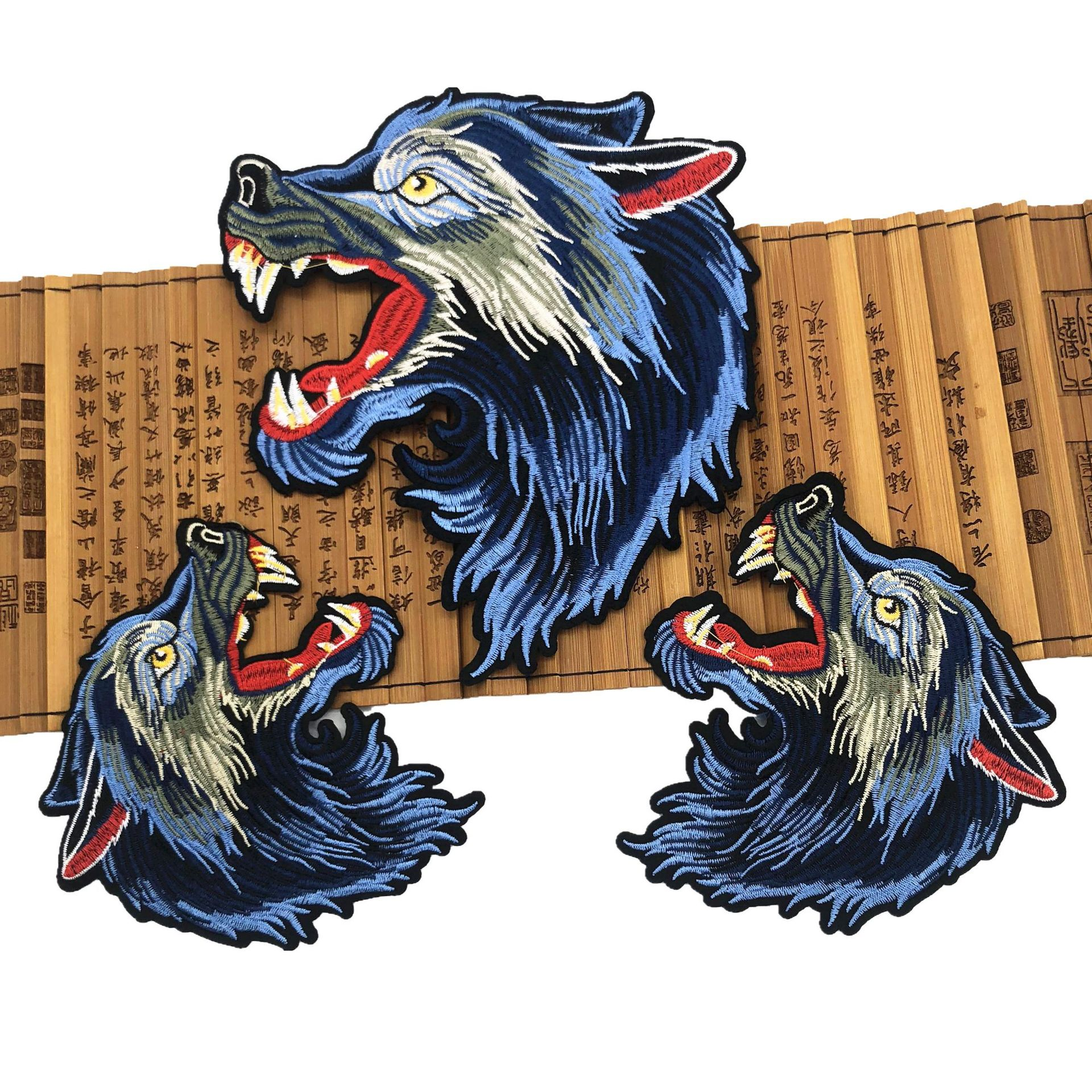 Iron On Patch 2Piece Embroidered Cute Wolf Patches DIY Embroidery Patching Apply To Handmade Clothes Bags Skirts Coat