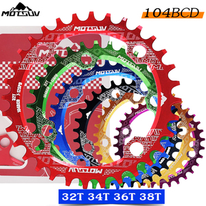 Bicycle Crank 104BCD Round Shape Narrow Wide 32T/34T/36T/38T MTB Chainring Bicycle Chainwheel Bike Circle Crankset Single Plate(China)
