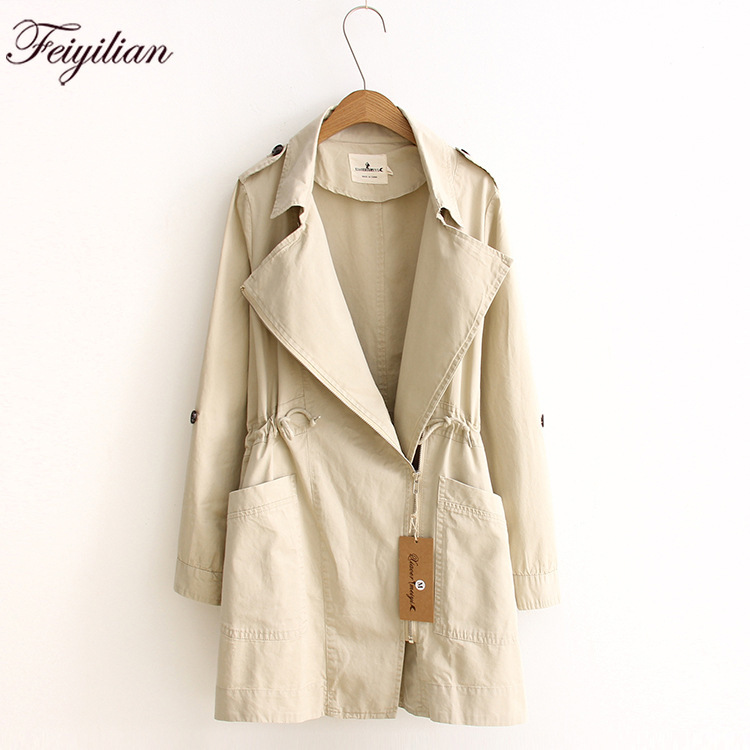 Paragraph dust coat grows in fashionable autumn new fund easy suit collar long sleeve   trench   coat female students