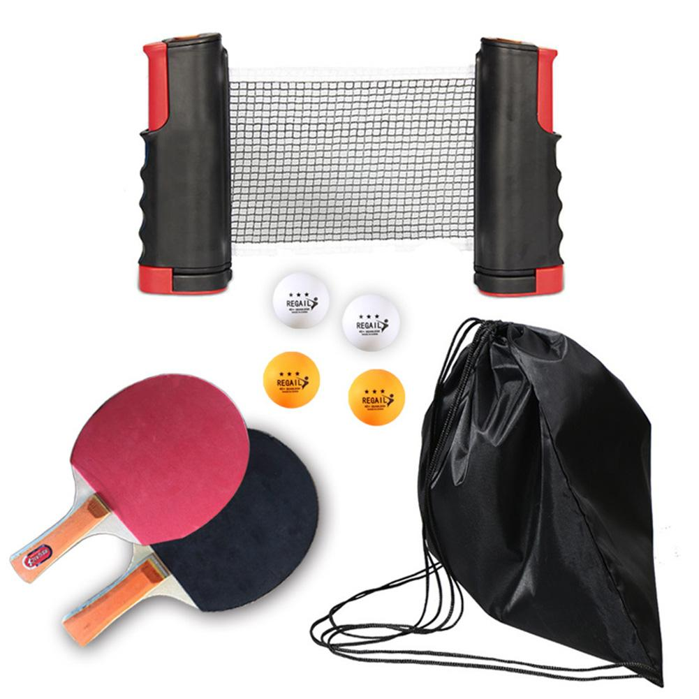 Portable Table Tennis Set Ping Pong Set With Retractable Net Indoor Outdoor Play Table Tennis Racket Ping Pong Balls Training