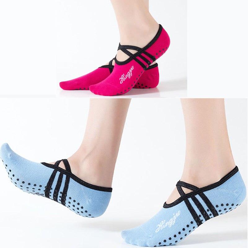 1 Pair Female Yoga Socks Anti Slip Cotton Ladies Pilates Socks Ballet Socks Dance Socks Fitness Sports Gym Home Women Breathable